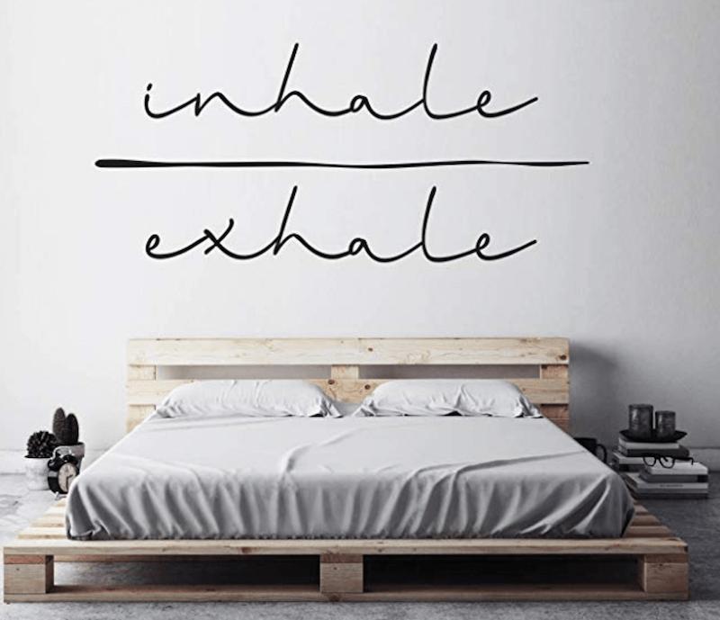 Airbnb Bedroom Essentials inhale exhale decal