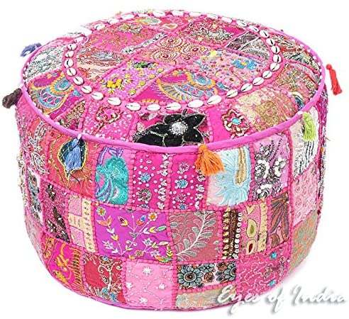 pink-patchwork-pouf-ottoman-from-amazon