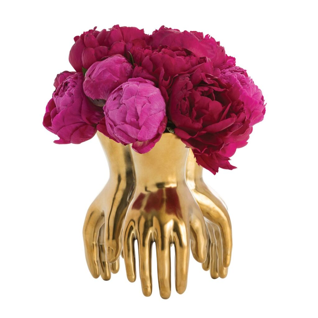 gold-hand-vase-pink-flowers